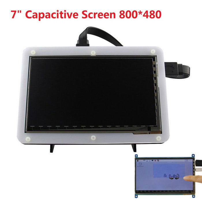 7 HDMI 800*480 TFT Capacitive Touch Screen Shield + Stander KitRaspberry Pi<br>Form ColorBlue + White (Screen + Stander)ModelN/AQuantity1 DX.PCM.Model.AttributeModel.UnitMaterialPCB + Electronic ComponentsEnglish Manual / SpecYesDownload Link   http://www.raspberrypiwiki.com/index.php/7_inch_HDMI_TFT_Capacitive_Touch_Screen_800x480_SKU:400579Packing List1 x Touch Screen1 x HDMI Cable (50cm)1 x USB Cable (80cm)1 x Stander<br>