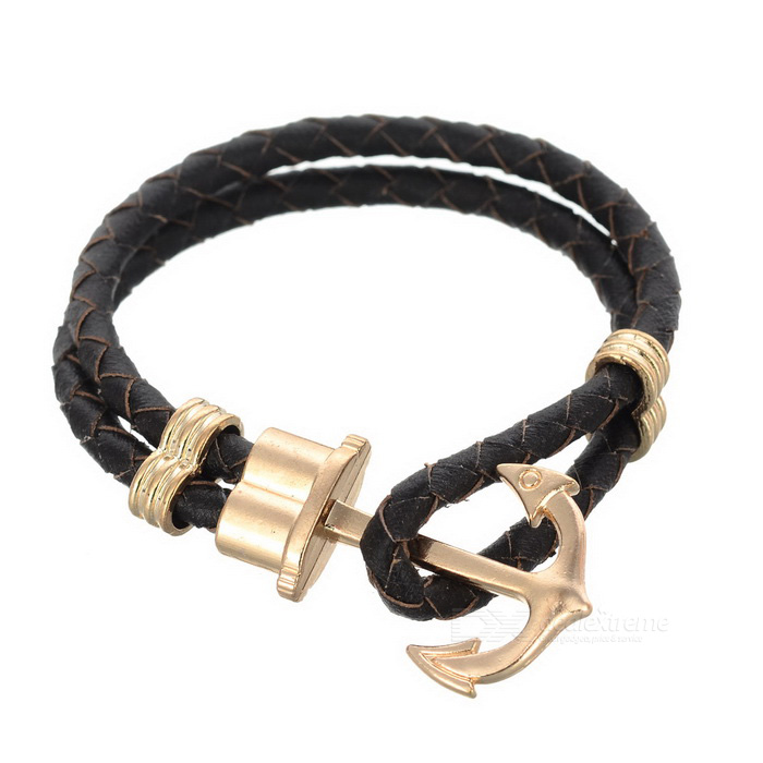 Anchor Style 2-Strand Woven Bracelet - Brown + Champagne Or