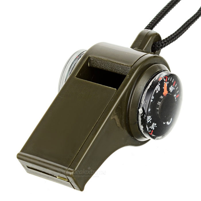 3-in-1 Outdoor Survival Whistle w/ Compass &amp; Thermometer - GreenCompasses<br>Form  ColorGreenQuantity1 DX.PCM.Model.AttributeModel.UnitMaterialABSAnalog or DigitalAnalogRulerNoWaterproofYesCertificationCEPacking List1 x Whistle<br>