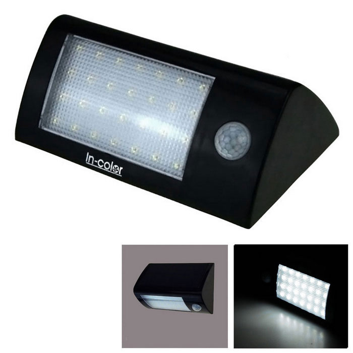 5.5V 1.8W 28-LED Solar Power PIR Motion Sensor Light - White + BlackSolar Powered Gadgets<br>Form  ColorWhite + BlackModelN/AMaterialPlasticQuantity1 setPower1.8 WWorking Voltage   3.7 VWorking Current3.7 ABattery Capacity2000 mAhLumens300 lumensBattery Charging Time8-12Working Time6 hoursOther FeaturesIP65Packing List1 x Solar Motion Sensor Lamp(include 1 piece 3.7V 2200mAh battery)2 x Extended pillar-hinge + screw1 x Screwdriver1 x English user manual<br>