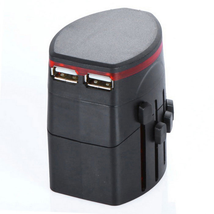 Universal Travel Dual USB Power Adapter laturi - Musta