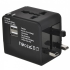 2-USB Global Universal Travel Adapter Laddare - Svart (5V / 2.1A)