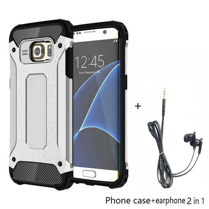TPU+PC Back Case + Earphone for Samsung Galaxy S7 Edge - SilverTPU Cases<br>Form  ColorSilver Grey + Black + Multi-ColoredQuantity1 DX.PCM.Model.AttributeModel.UnitMaterialOthers,TPU + PCShade Of ColorSilverCompatible ModelsSamsung Galaxy S7 EdgeDesignMixed Color,With Anti Dust PlugStyleBack CasesCertificationCE, FCC, ROHSPacking List1 x Case1 x Earphone(120cm cable)<br>