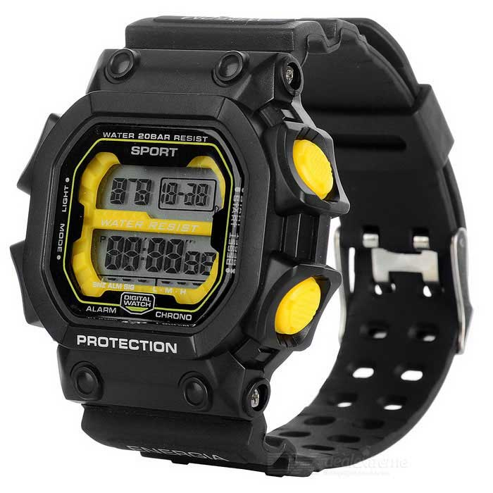 Unisex Resin Band Digital Sports Watch - Black + Yellow (1 * 2016)