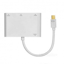 CY DP-103-WH Mini DP to VGA & HDMI HDTV & Audio & Charge Adapter