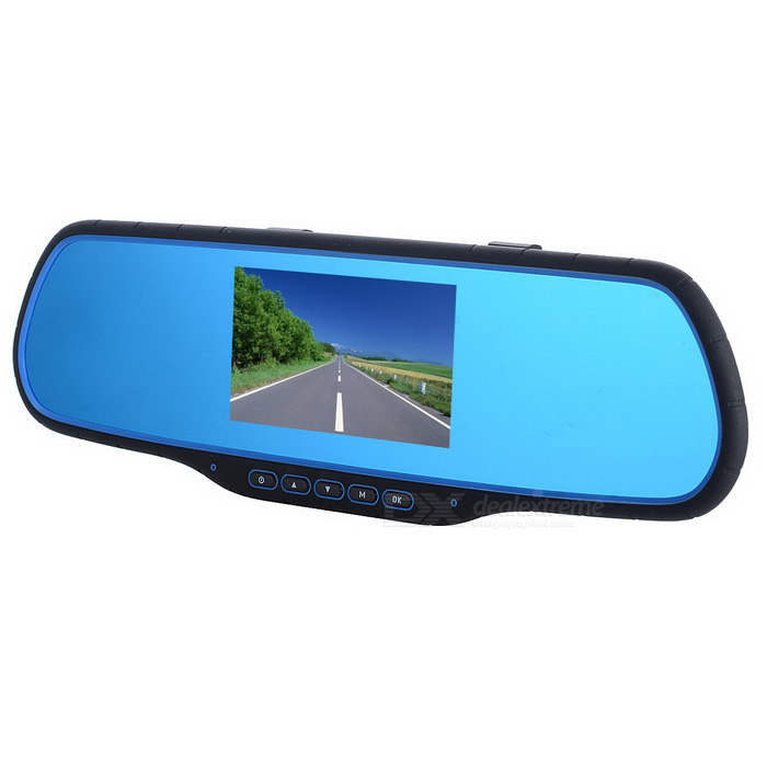Dual Camera Car DVR HD 1080P Recorder Rearview Mirror - Black