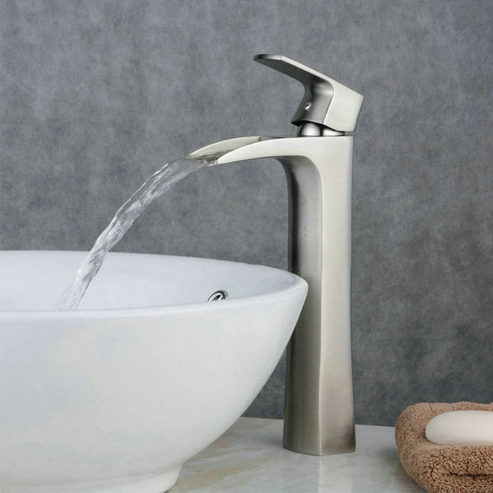 YDL-F-0723 Contemporary Tall Waterfall Bathroom Sink Faucet - Silver