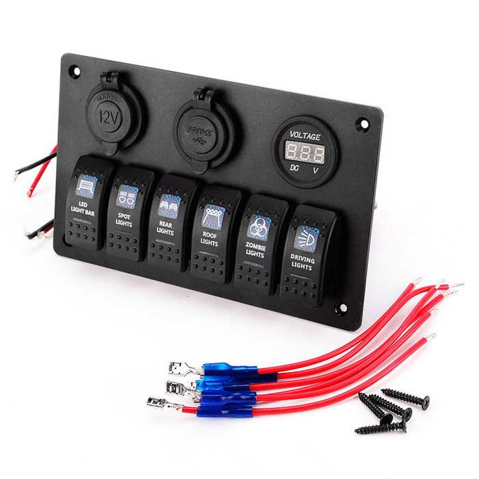 6 Gang Waterproof Blue LED Rocker Switch Panel Voltmeter USB ChargerCar Switches<br>Form  ColorBlackModelS8221-ZQuantity1 DX.PCM.Model.AttributeModel.UnitMaterialNylonIndicator LightYesRate Voltage12-24VRated Current15 DX.PCM.Model.AttributeModel.UnitOther FeaturesLoop Circuit: ON-OFF; Switch LED: blueCertificationCEPacking List1*6 Gang ROCKER SWITCH printed PANEL4*Screws<br>