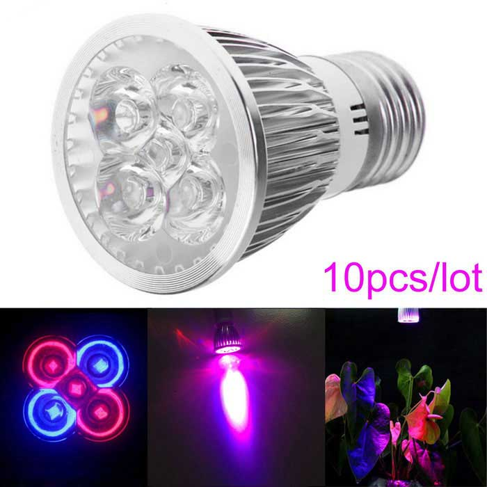 Buy JIAWEN E27 5W 5-LED Red + Blue Plant-Growth Lamp (AC 85V-265V / 10PCS) with Litecoins with Free Shipping on Gipsybee.com