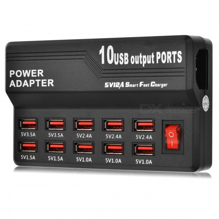 Portable 10-Port USB 2.0 High Speed Fast Charger - Black (US Plugs)