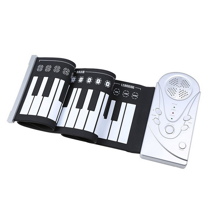 Flexible Roll Up Electronic Soft Keyboard Piano - Black + WhiteMusical Instruments<br>Form ColorBlack + WhiteMaterialABSQuantity1 DX.PCM.Model.AttributeModel.UnitShade Of ColorBlackInstrument TypeOthersPacking List1 * Soft Keyboard Piano (49 Keys)1 * 4.5V Power Adapter (US Plug / 1.1m)<br>