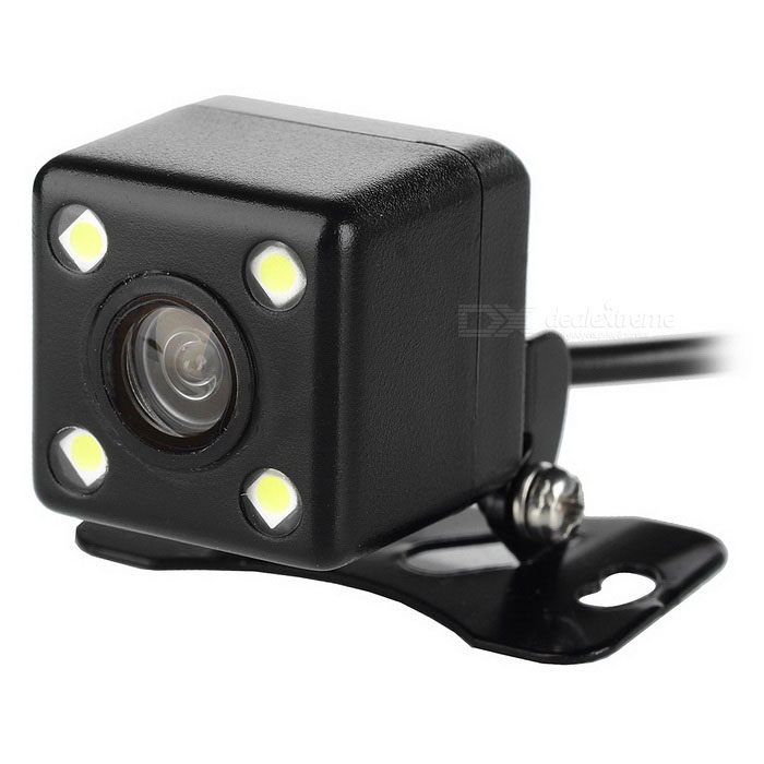 Buy A04 Universal External Mini Wired 4-LED Car Rearview Camera - Black with Litecoins with Free Shipping on Gipsybee.com