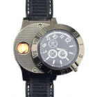 2-in-1 Metal Watch & USB Electronic Lighter - Black