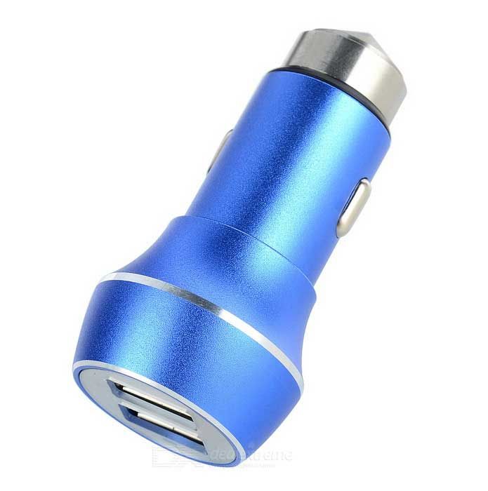 5V 3.1A 2-USB Car Charger / Metal Safety Hammer - Blue + SilverCar Power Chargers<br>Form  ColorBlue + Silver + Multi-ColoredModelN/AQuantity1 DX.PCM.Model.AttributeModel.UnitMaterial304 Stainless steelShade Of ColorBlueInput Voltage12~24 DX.PCM.Model.AttributeModel.UnitOutput Voltage5 DX.PCM.Model.AttributeModel.UnitOutput Current3.1 DX.PCM.Model.AttributeModel.UnitInterfaceUSBApplicationUniversal for carsPacking List1 * Car charger<br>