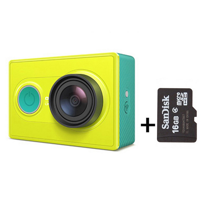 Xiaomi Xiaoyi 1080P 16MP Sports Camera w/ Wi-Fi, BT - Green (16GB TF)Sport Cameras<br>Form  ColorGreen (+16G TF)ModelXiaoyiShade Of ColorGreenMaterialPC + ABSQuantity1 pieceImage SensorCMOSImage Sensor Size2/3 inchesAnti-ShakeYesFocal Distance2.73+/-5% mmFocusing RangeN/AApertureF2.8Wide Angle155 degreeEffective Pixels16MPImagesJPEGStill Image Resolution4608*3456VideoOthers,MP4Video Resolution4608*3456Video Frame RateOthers,1080P 60fps / 1080P 48fps/1080P 30fps/1080P 24fps/960P 60fps/960P 48fps/720P 120fps/720P 60fps/720P 48fps/480P 240fpsCycle RecordYesISONoExposure CompensationNoSupports Card TypeTFSupports Max. Capacity64 GBBuilt-in Memory / RAMNoOutput InterfaceMicro USBLCD ScreenNoBattery Measured Capacity 990 mAhNominal Capacity1020 mAhBattery TypeLi-ion batteryBattery included or notYesVoltage5 VBattery Charging Time3~4 hoursLow Battery AlertsYesWater ResistantOthers,40mSupported LanguagesSimplified ChineseOther FeaturesWi-Fi / Bluetooth 4.0Packing List1*Sport camera1*1020mAh battery 1*Charging cable (20cm)1*Chinese user manual1* TF Card 16GB<br>