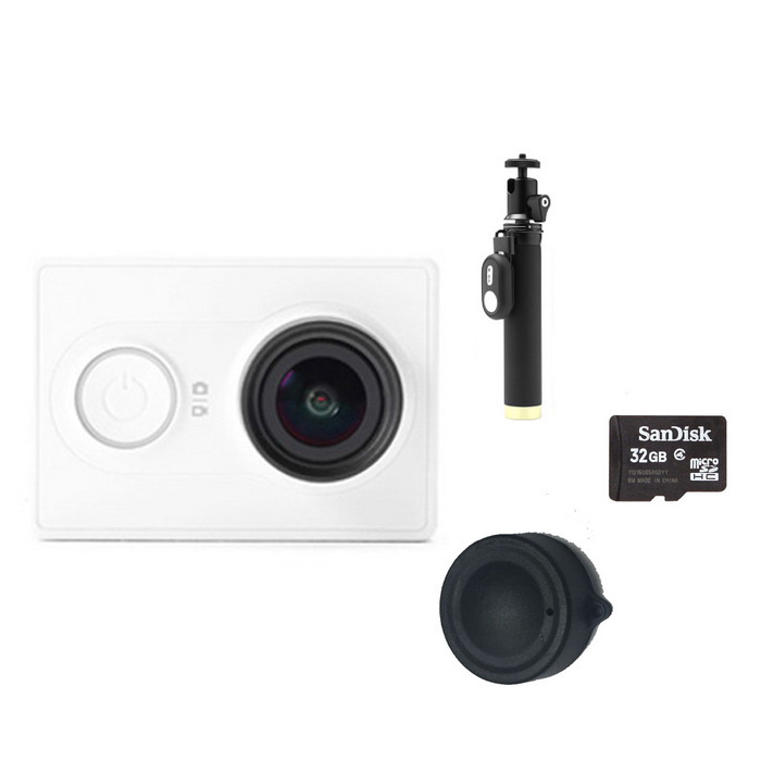 Xiaomi Xiaoyi 16MP Sports Camera + Yi Monopod + Lens Cover + 32GB TFSport Cameras<br>Form  ColorWhite (Yi monopod + 32GB TF)Shade Of ColorWhiteMaterialPC + ABSQuantity1 pieceImage SensorCMOSImage Sensor Size2/3 inchesAnti-ShakeYesFocal Distance2.73+/-5% mmFocusing RangeN/AApertureF2.8Wide Angle155 degreeEffective Pixels16MPImagesJPEGStill Image Resolution4608*3456VideoOthers,MP4Video Resolution4608*3456Video Frame RateOthers,1080P 60fps / 1080P 48fps/1080P 30fps/1080P 24fps/960P 60fps/960P 48fps/720P 120fps/720P 60fps/720P 48fps/480P 240fpsCycle RecordYesISONoExposure CompensationNoSupports Card TypeTFSupports Max. Capacity64 GBBuilt-in Memory / RAMNoOutput InterfaceMicro USBLCD ScreenNoBattery Measured Capacity 990 mAhNominal Capacity1020 mAhBattery TypeLi-ion batteryBattery included or notYesVoltage5 VBattery Charging Time3~4 hoursLow Battery AlertsYesWater ResistantOthers,40mSupported LanguagesSimplified ChineseOther FeaturesWi-Fi / Bluetooth 4.0Packing List1*Sport camera1*1020mAh battery 1*Charging cable (20cm)1*Chinese use manual1*Yi selfie monopod (with remote controller)1*Lens cover1*32GB TF card<br>