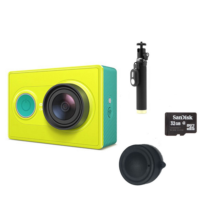 Xiaomi Xiaoyi Sports Camera + Monopod + Lens Cover + 32GB TF - GreenSport Cameras<br>Form  ColorGreen (Yi Monopod + 32GB TF)Shade Of ColorGreenMaterialPC + ABSQuantity1 pieceImage SensorCMOSImage Sensor Size2/3 inchesAnti-ShakeYesFocal Distance2.73+/-5% mmFocusing RangeN/AApertureF2.8Wide Angle155 degreeEffective Pixels16MPImagesJPEGStill Image Resolution4608*3456VideoOthers,MP4Video Resolution4608*3456Video Frame RateOthers,1080P 60fps / 1080P 48fps/1080P 30fps/1080P 24fps/960P 60fps/960P 48fps/720P 120fps/720P 60fps/720P 48fps/480P 240fpsCycle RecordYesISONoExposure CompensationNoSupports Card TypeTFSupports Max. Capacity64 GBBuilt-in Memory / RAMNoOutput InterfaceMicro USBLCD ScreenNoBattery Measured Capacity 990 mAhNominal Capacity1020 mAhBattery TypeLi-ion batteryBattery included or notYesVoltage5 VBattery Charging Time3~4 hoursLow Battery AlertsYesWater ResistantOthers,40mSupported LanguagesSimplified ChineseOther FeaturesWi-Fi / Bluetooth 4.0Packing List1*Sport camera1*1020mAh battery 1*Charging cable (20cm)1*Chinese use manual1*Yi monopod (with Bluetooth remote)1*Lens cover1*32GB TF card<br>