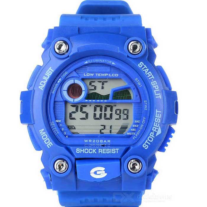 Sports Quartz Digital Wrist Watch w/ Colorful Backlight - BlueSport Watches<br>Form ColorBlueQuantity1 DX.PCM.Model.AttributeModel.UnitShade Of ColorBlueCasing MaterialAlloyWristband MaterialResin rubberSuitable forAdultsGenderUnisexStyleWrist WatchTypeSports watchesDisplayDigitalBacklightColorful backlightMovementQuartzDisplay Format12/24 hour time formatWater ResistantFor daily wear. Suitable for everyday use. Wearable while water is being splashed but not under any pressure.Dial Diameter4.5 DX.PCM.Model.AttributeModel.UnitDial Thickness1.5 DX.PCM.Model.AttributeModel.UnitWristband Length27.8 DX.PCM.Model.AttributeModel.UnitBand Width2 DX.PCM.Model.AttributeModel.UnitBattery1*2016 BatteryPacking List1 * Watch1 * Chinese / English user manual<br>