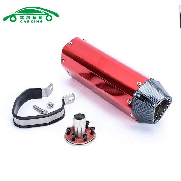CARKING-Carbon-Grain-Motorcycle-Racing-Muffler-Exhaust-Pipe-Red