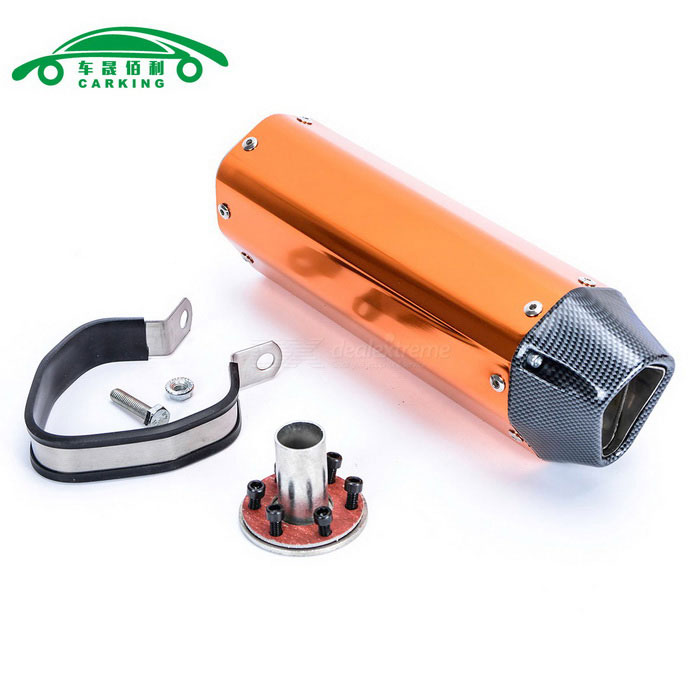 CARKING Carbon Grain Motorcycle Racing Muffler Exhaust Pipe - Orange