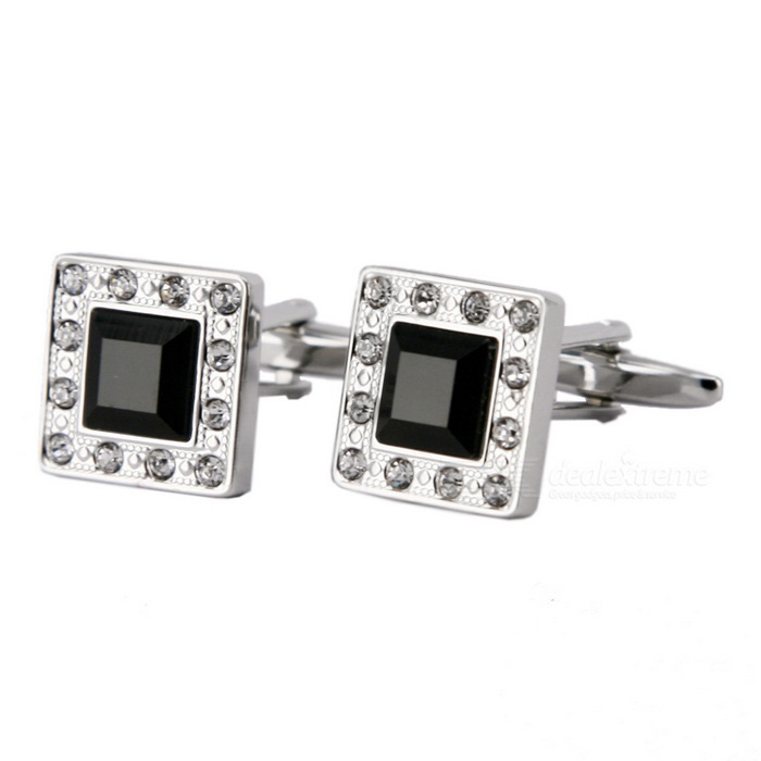 Buy Square Men's Cufflinks - Silver + Black (Pair) with Litecoins with Free Shipping on Gipsybee.com