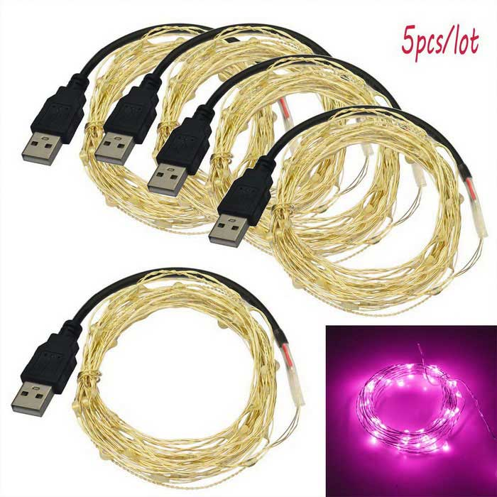 JIAWEN USB 5m 3W 50-LED Holiday Decoration String Light (5PCS)