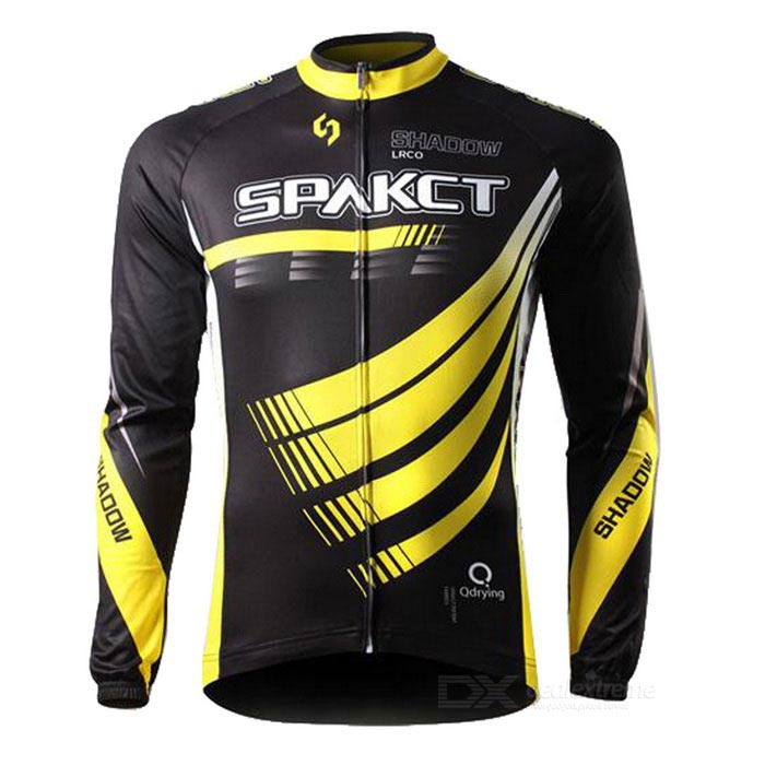 SPAKCT Unisex Long Sleeves Cycling Jersey - Black + Yellow (L)