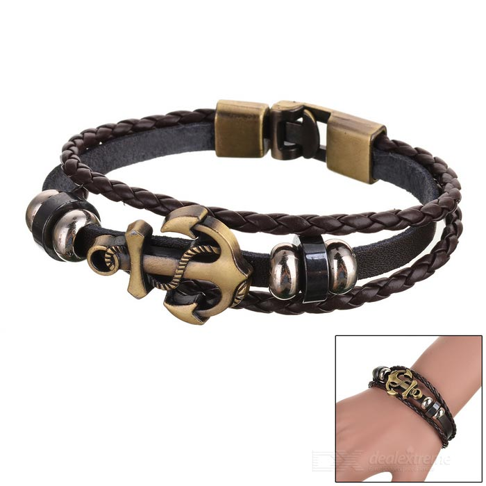 Buy Unisex Punk Style Anchor Ornament Bracelet - Brown with Litecoins with Free Shipping on Gipsybee.com