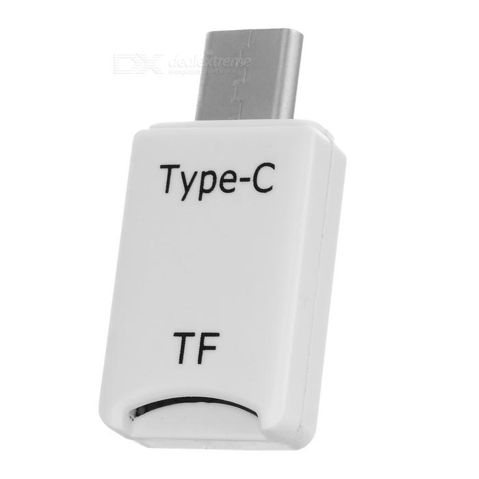 External TF Card Reader for Type-C Phone, Laptop, Tablet PC - White