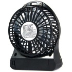 Outdoor Mini USB portatile ricaricabile Fan w / LED - Nero