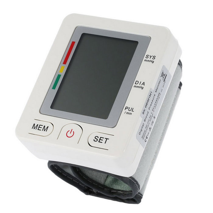 Buy Wrist Bluetooth V4.0 Digital LCD Blood Pressure Monitor - White with Litecoins with Free Shipping on Gipsybee.com
