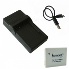 ismartdigi 4L 800mAh Battery +Micro USB Charger for Canon - Grey+Black