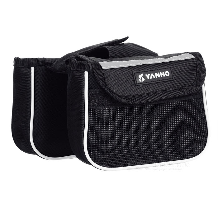 Yanho Oxford Cloth + Nylon Bike Top Tube Bag - Black + White (1.5L)Bike Bags<br>Form  ColorBlack + WhiteQuantity1 DX.PCM.Model.AttributeModel.UnitMaterialOxford cloth + nylonTypeOthers,Saddle bagCapacity1.5 DX.PCM.Model.AttributeModel.UnitWaterproofNoGenderUnisexBest UseCycling,Recreational Cycling,Road CyclingCertificationCEPacking List1 * Bag<br>