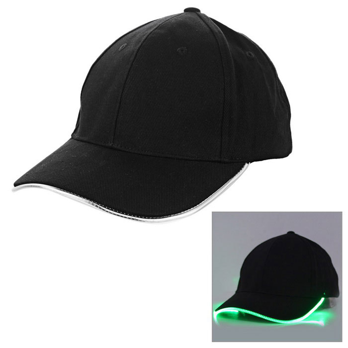 Outdoor Luminous Green LED Flashing Sports Cap - Black + GreenCaps and Hats<br>Form ColorBlack + GreenQuantity1 DX.PCM.Model.AttributeModel.UnitShade Of ColorBlackMaterialCottonGenderUnisexSuitable forAdultsStyleSportsStrap TypeOthers,VelcroSeasonsFour SeasonsHead Circumference52~62 DX.PCM.Model.AttributeModel.UnitOther FeaturesOperation: with 2 switches, turn on the battey switch first, then switch on LED light. Battery: 2*CR2032 button cells(included, replaceable), support continuously working for 72 hours. Switch: 1---fast strobe, 2---steady on, 3---turn off.Packing List1*Cap<br>