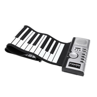 Portable Roll Up Electric Keyboard 61 Keys Piano - Black + White