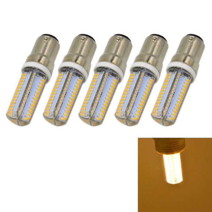 B15 5W 400lm LED Warm White Light Bulbs (AC 220V / 5PCS)Other Connector Bulbs<br>Color BINWarm WhiteMaterialSilicone + aluminumForm  ColorSilver + Yellow + Multi-ColoredQuantity1 DX.PCM.Model.AttributeModel.UnitPower5WRated VoltageAC 220 DX.PCM.Model.AttributeModel.UnitConnector TypeOthers,B15Chip BrandOthers,-Chip Type3014 SMD LEDEmitter TypeOthers,3014 SMD LEDTotal Emitters104Theoretical Lumens420 DX.PCM.Model.AttributeModel.UnitActual Lumens400 DX.PCM.Model.AttributeModel.UnitColor Temperature3000KDimmableNoBeam Angle360 DX.PCM.Model.AttributeModel.UnitPacking List5*LED Bulbs<br>