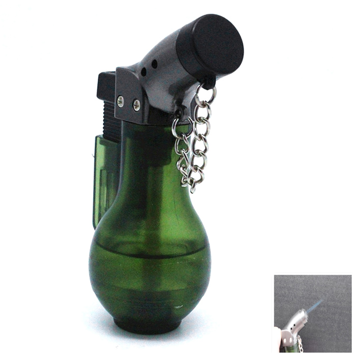 Outdoor Wind-proof Elbow Cigar Flame Torch Igniter - Dark Green + Grey