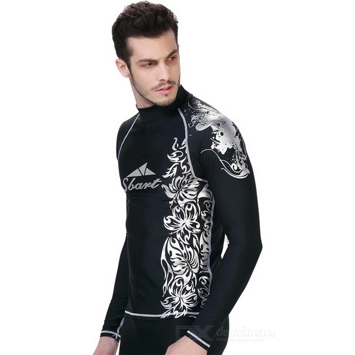 Sbart-Mens-Patterned-Scuba-Diving-Surfing-Dive-Skin-Black-(XXL)