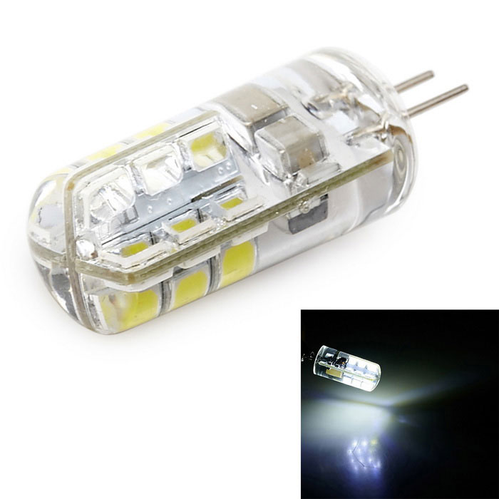 G4 3W 140lm 6000K 24-SMD 2835 LED Cold White LED Corn Bulb (220V)G4<br>Color BINCool WhiteMaterialLED + SiliconeForm  ColorTransparent + YellowQuantity1 DX.PCM.Model.AttributeModel.UnitPower3WRated VoltageAC 220 DX.PCM.Model.AttributeModel.UnitConnector TypeG4Emitter TypeOthers,2835 SMD LEDTotal Emitters24Theoretical Lumens140 DX.PCM.Model.AttributeModel.UnitActual Lumens120-140 DX.PCM.Model.AttributeModel.UnitColor Temperature6000KDimmableNoBeam Angle360 DX.PCM.Model.AttributeModel.UnitPacking List1*LED Bulb<br>