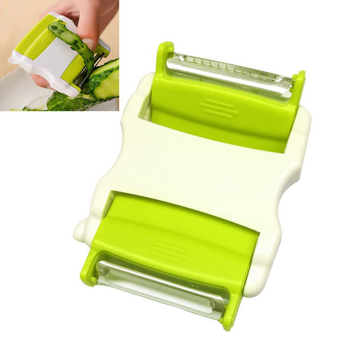 Kitchen Vegetable Fruit Two-way Flip Scale Peeler - Grass GreenForm  ColorGrass Green + WhiteMaterialStainless Steel + ABSQuantity1 DX.PCM.Model.AttributeModel.UnitPacking List1*Peeler<br>