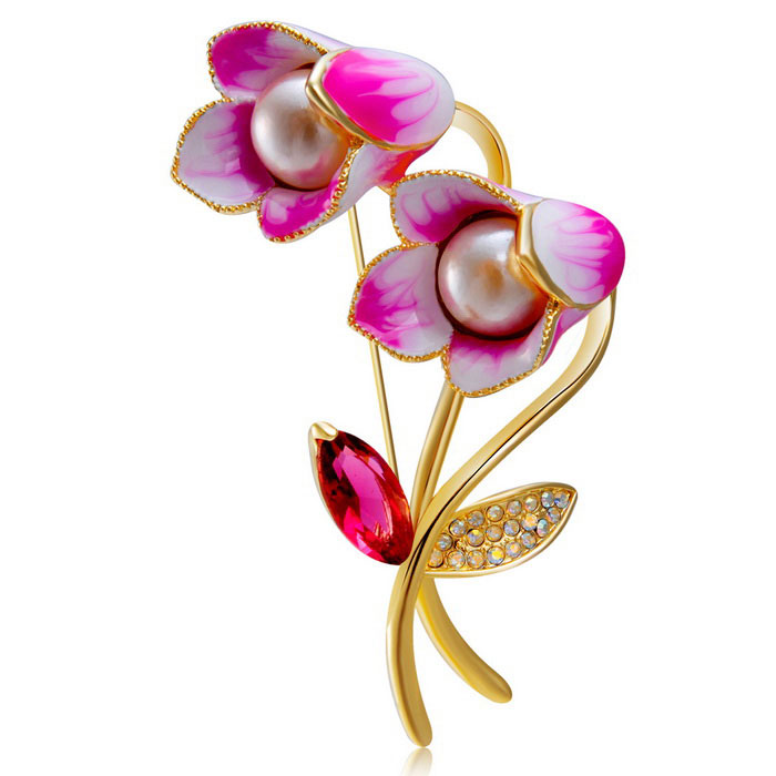 Xinguang Women's Blue Paint High-Grade Pearl Brooch - White + Pink