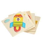 Rocket Shaped Puzzle Wooden Blocks Cartoon Toy - Yellow + Multicolor