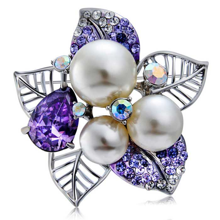 Buy Xinguang Women's Crystal Pearl Brooch - White + Purple with Litecoins with Free Shipping on Gipsybee.com
