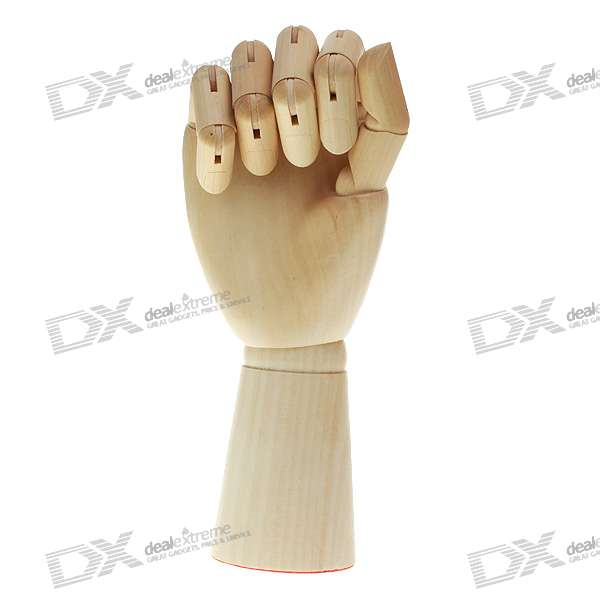 Buy Wooden 15-Joint Moveable Manikin Hand Model - (28.5CM-Length) with Litecoins with Free Shipping on Gipsybee.com