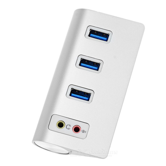 Super Speed ​​USB 3.0 a 3-Port Hub - bianco argenteo