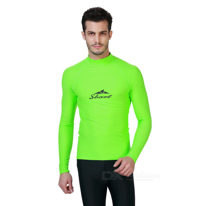Sbart Men's Long Sleeves Diving Rash Guard Top - Green (XXL)