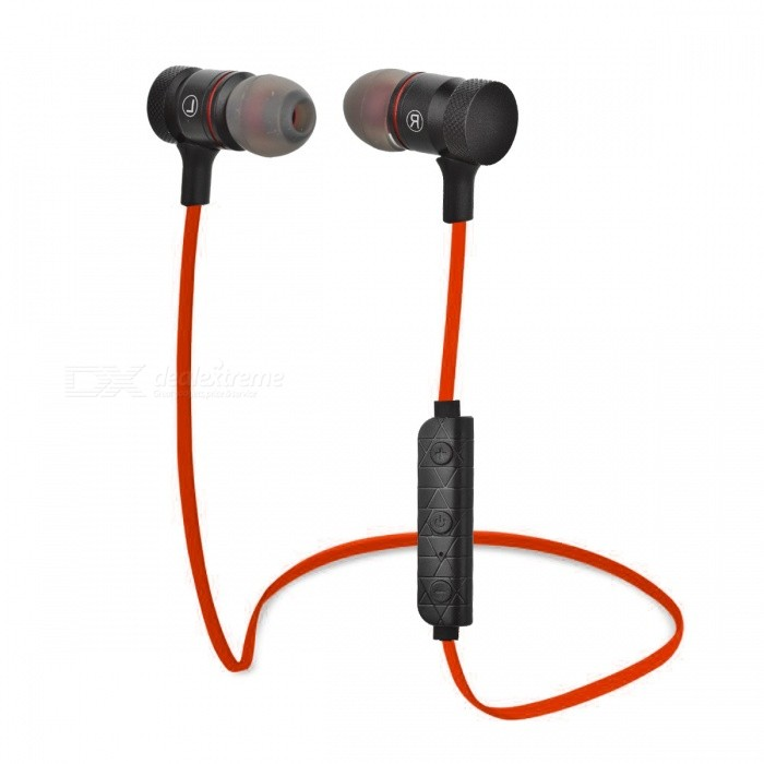 M9 Bluetooth 4.1 In-Ear Stereo Earphones with Mic. - Black + RedHeadphones<br>Form  ColorBlack + RedModelM9MaterialAluminum alloy + plasticQuantity1 DX.PCM.Model.AttributeModel.UnitShade Of ColorBlackEar CouplingIn-EarBluetooth VersionBluetooth V4.1,V4.1Operating Range10mRadio TunerNoMicrophoneYesSupports MusicYesConnects Two Phones SimultaneouslyYesApplicable ProductsUniversalBuilt-in Battery Capacity 70 DX.PCM.Model.AttributeModel.UnitBattery TypeLi-polymer batteryTalk Time5~6 DX.PCM.Model.AttributeModel.UnitMusic Play Time4~5 hours DX.PCM.Model.AttributeModel.UnitStandby Time180 DX.PCM.Model.AttributeModel.UnitPower AdapterUSBBrandOthers,N/AConnectionBluetoothHeadphone StyleBilateral,In-Ear,BluetoothWaterproof LevelIPX0 (Not Protected)Headphone FeaturesEnglish Voice Prompts,Phone Control,Magnetic Adsorption,Volume Control,With Microphone,Portable,For Sports &amp; ExerciseSupport Memory CardNoSupport Apt-XNoPacking List1 * Earphones 1 * USB charging cable (51+/-2cm)4 * Silicone earbuds1 * Collar clip1 * English user manual<br>