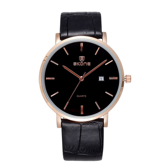 SKONE 508402 Unisex Business Watch w/ Calendar - Rose Gold + BlackQuartz Watches<br>Form  ColorRose Gold + BlackModel508402Quantity1 DX.PCM.Model.AttributeModel.UnitShade Of ColorBlackCasing MaterialAlloyWristband MaterialPU leatherSuitable forAdultsGenderUnisexStyleWrist WatchTypeFashion watchesDisplayAnalogMovementQuartzDisplay FormatOthers,-Water ResistantNODial Diameter4 DX.PCM.Model.AttributeModel.UnitDial Thickness0.79 DX.PCM.Model.AttributeModel.UnitWristband Length24 DX.PCM.Model.AttributeModel.UnitBand Width1.82 DX.PCM.Model.AttributeModel.UnitBattery1 * S377Packing List1 * Watch<br>