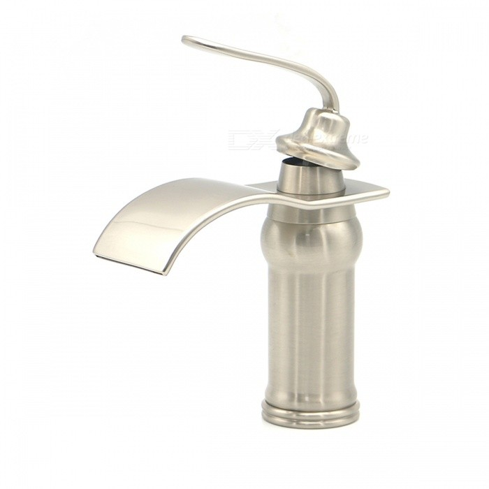 F-0730 Single Handle One Hole Nickel Brushed Bathroom Sink FaucetBath Faucets<br>Form  ColorAntique SilveryModelF-0730MaterialBrass+Zinc AlloyQuantity1 DX.PCM.Model.AttributeModel.UnitFinishBrushedFaucet Spout MaterialStainless SteelFaucet Body MaterialBrassFaucet Handle MaterialZinc AlloyStyleContemporaryOther Features- Installation type: Vertical; <br>- Waterfall taps; <br>- With single hole, <br>- With one switch; <br>- Ceramic valve; <br>- Support cold / hot water switch; <br>- Standard 1/2 threads; <br>- Water outlet length: 13cm; <br>- Water outlet width: 6.3cm; <br>- Water outlet height: 11cmPacking List1*Faucet2*Hoses (50cm)<br>