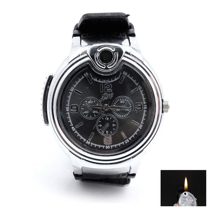 Novelty Watch Shaped Refillable Butane Gas Lighter - Silver + Black